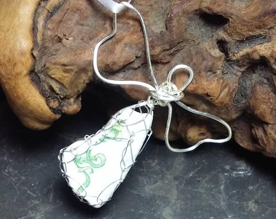 Sea Glass Angel Ornament Wire Wrapped with Unique Sea Pottery