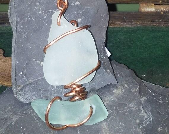 Sea Glass Sailboat Ornament - Beach Glass Sun Catcher - White Sea Glass - Unique Funky Gift Ideas