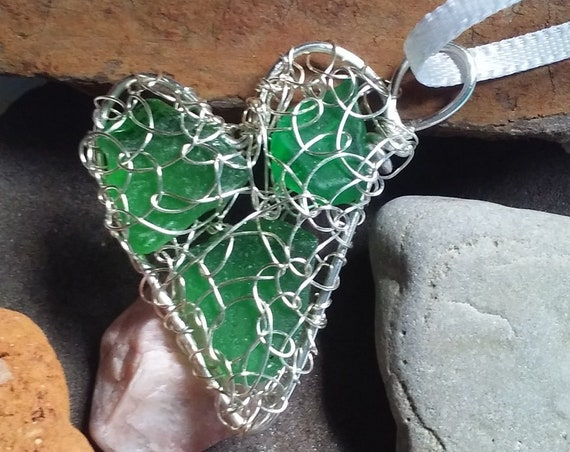 Lake Michigan Beach Glass Sun Catcher - Sea Glass Heart Ornament -  Rear View Mirror Charm - South Shore Beach Glass by Goofy Moose