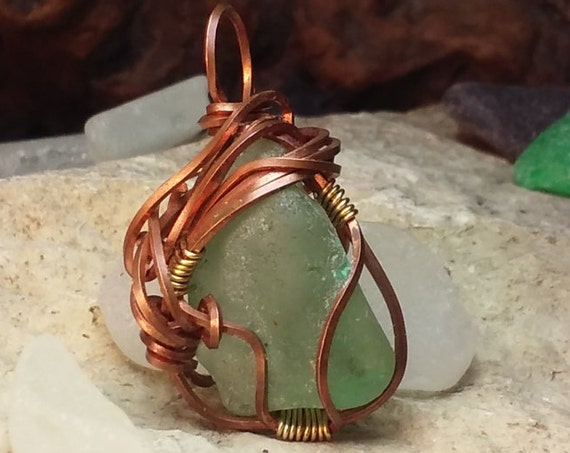 Copper Wirewrapped Sea Glass Jewelry