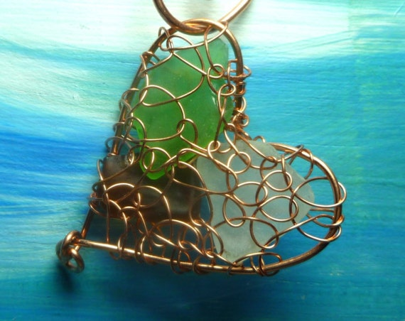 Sea Glass Heart Ornament  - Lake Michigan Beach Glass Sun Catcher