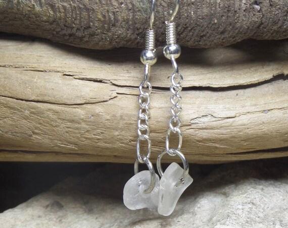 Lake Michigan Beach Glass Earrings Dangle Drop Style