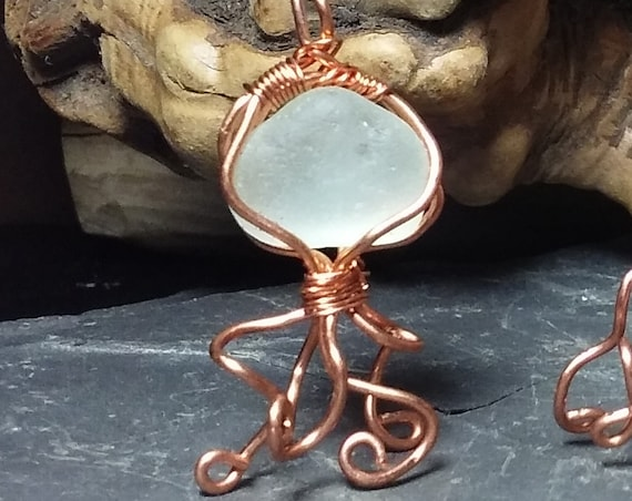 Jellyfish Necklace -  Copper with English Sea Glass
