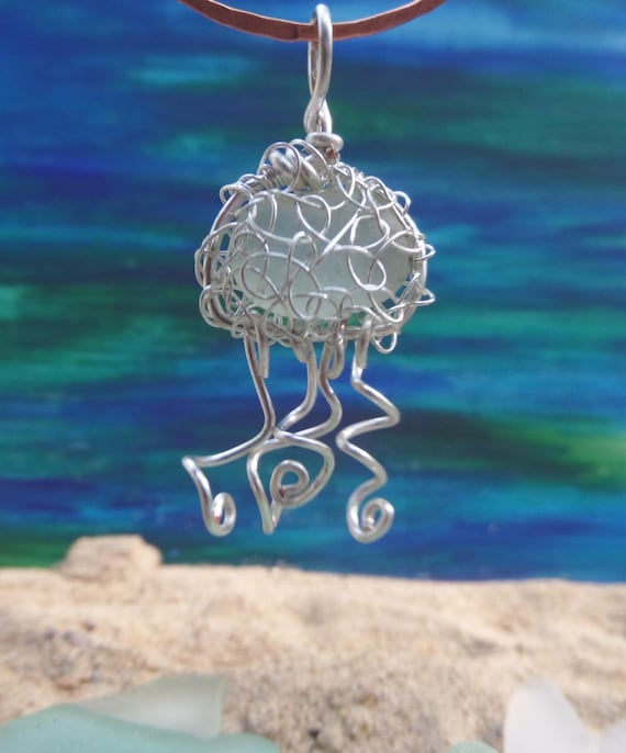 Small Jellyfish Necklace / Ornament with English Sea Glass - Small 1 1/2 Inch Pendant - Unique Teacher Gift - Royal Sea Glass by Goofy Moose