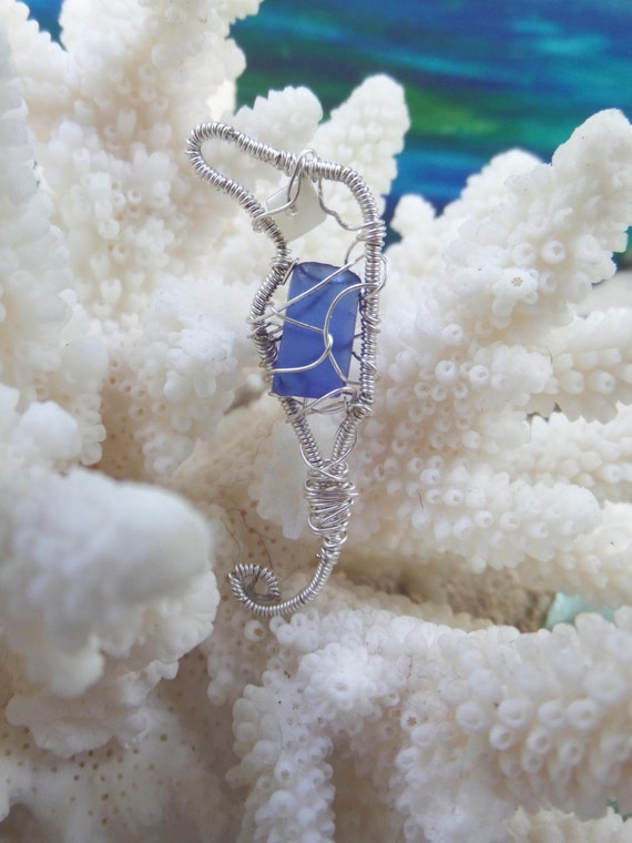 Blue Sea Glass Seahorse Ornament / Wire Wrapped Sea Horse Jewelry