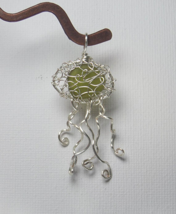 Jellyfish Necklace - Unique  Eco Friendly Birthday Gift for Her - Green English Sea Glass Jewelry - Beach Jewelry