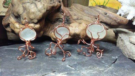 Jellyfish Necklace - Sea Glass Jewelry - Jellyfish Ornament - Jellyfish Jewelry - Beach Glass Jewelry - Royal Sea Glass by Goofy Moose