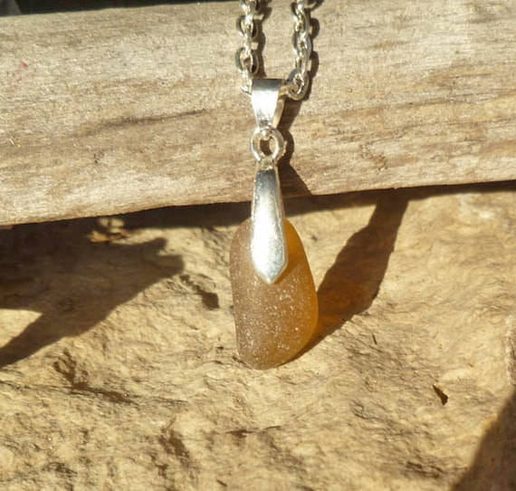 Brown Sea Glass Jewelry - English Sea Glass Necklace Jewellery - Birthday Gift for Woman