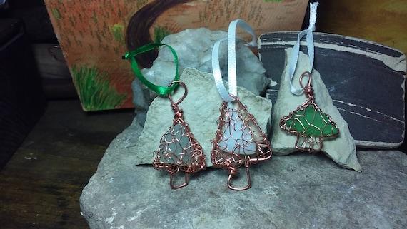 Christmas Tree ornament - South Shore Beach Glass Lake Michigan -  Copper Sun Catcher - Rear View Mirror Charm
