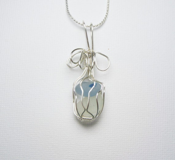 English Sea Glass Necklace - Wirewrapped Birthday Gift for Her