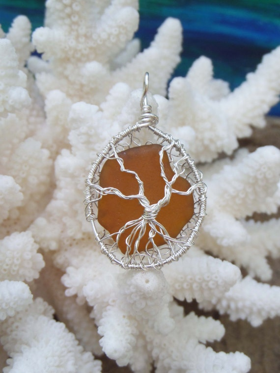 Tree of Life Ornament with Brown Lake Michigan Beach Glass