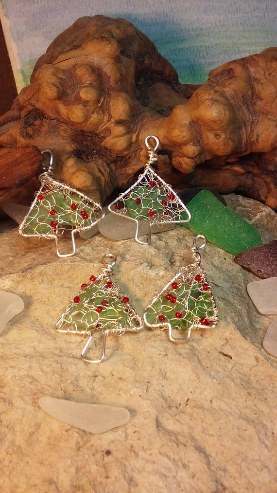 Sea Glass Ornament with Lake Michigan Beach Glass and Seed Bead Ornaments