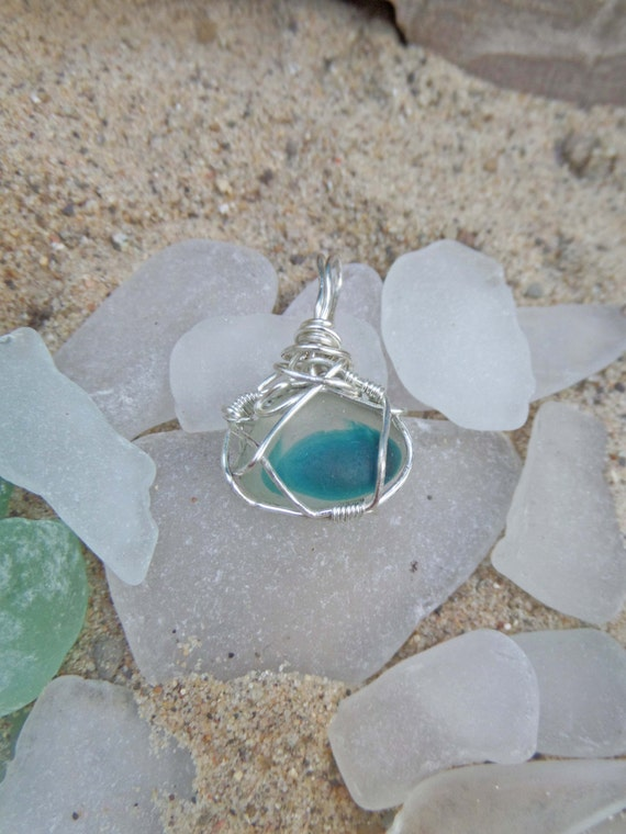 Small Blue English Sea Glass Multi Necklace