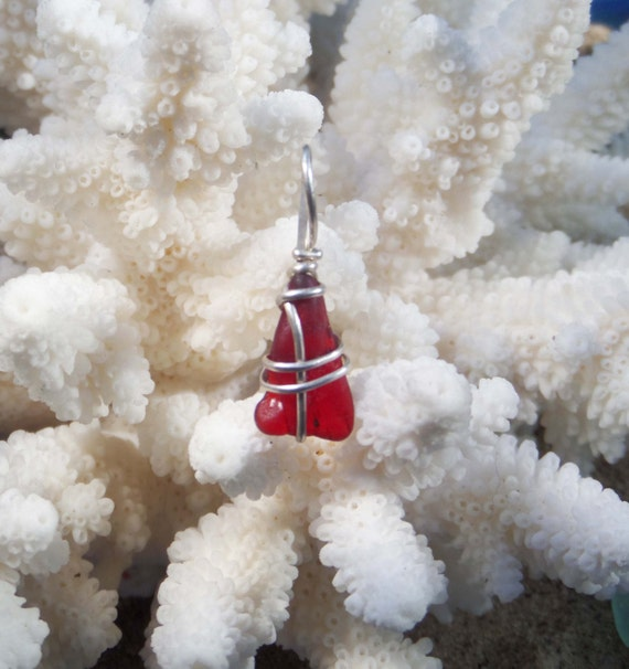 Red Sea Glass Wirewrapped Necklace with Sterling Silver