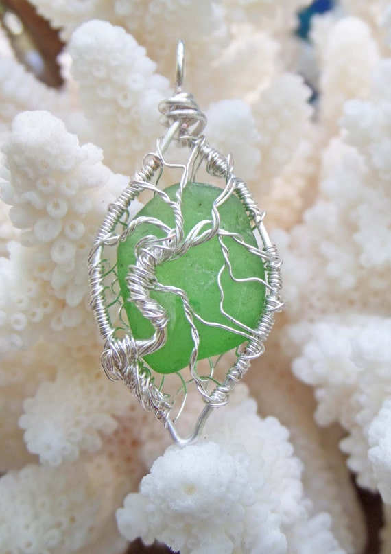 Tree of Life Necklace - Green Sea Glass - Eco-friendly Gift - Quirky Gift for Teachers - Royal Sea Glass by Goofy Moose