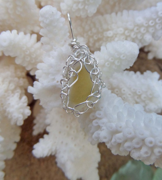 Yellow Sea Glass Necklace Wirewrapped with Silver Wire