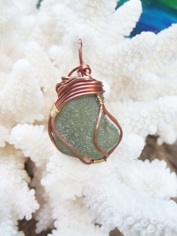 Sea Glass Necklace with French Sea Glass - Beach Wedding Green Sea Glass Wire Wrapped Gift for Women - Bonjour Sea Glass by Goofy Moose
