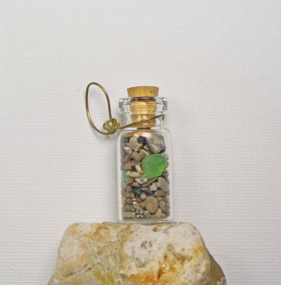 Sea glass bottle necklace, Green French sea glass necklace Beach in a Bottle, beach glass necklace, sea glass jewelry