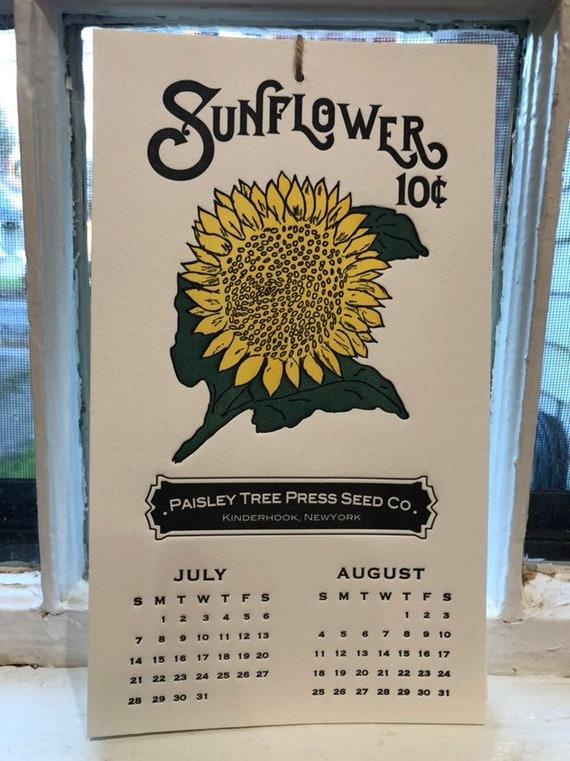 letterpress calendar 2019, recycled, reusable art print, farmhouse calendar