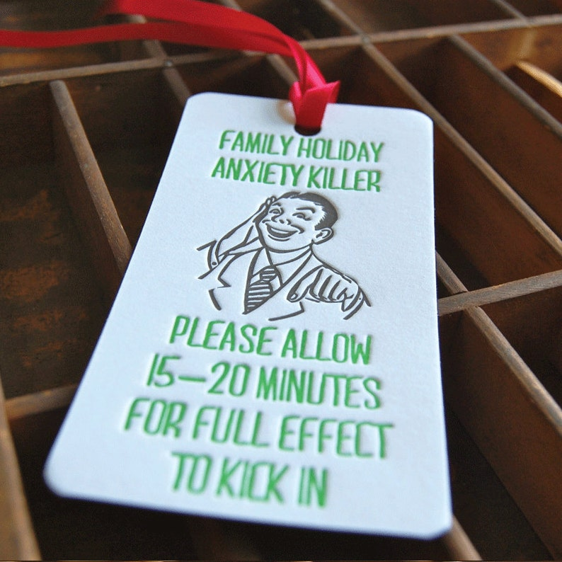 Anxiety Killer Letterpress printed Bottle Tag Gift Tag image 0