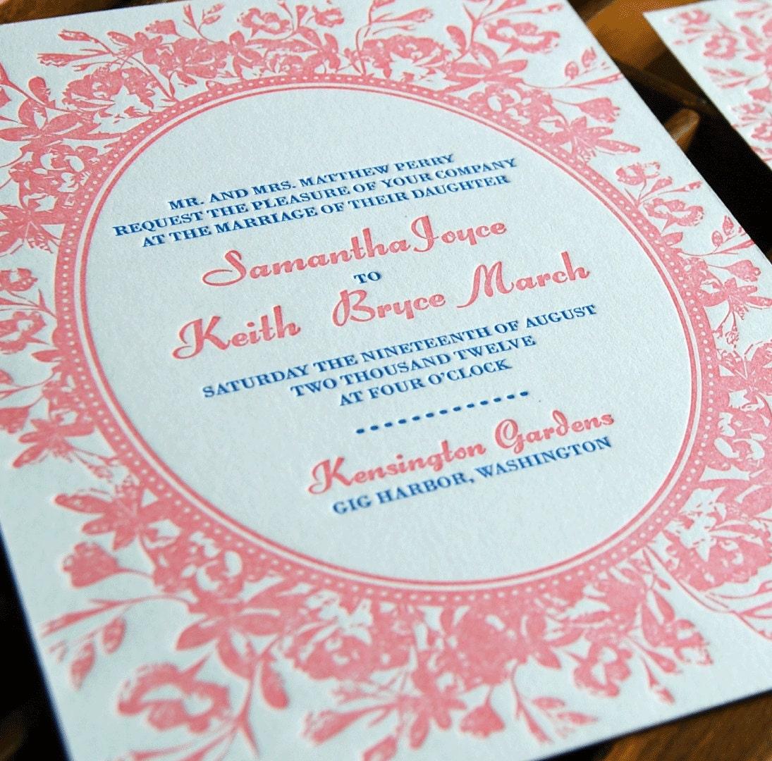 Matchy Matchy Letterpress Invite And Handmade Envelope: Vintage Rose Letterpress Wedding Invitation Sample