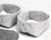 Bathroom organizer set - q-tip holder - wool felt vanity storage - contemporary design