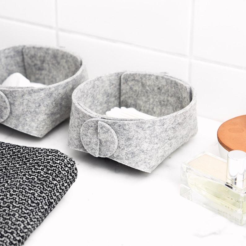 Bathroom Organizer Set Q Tip Holder Wool Felt Vanity Etsy