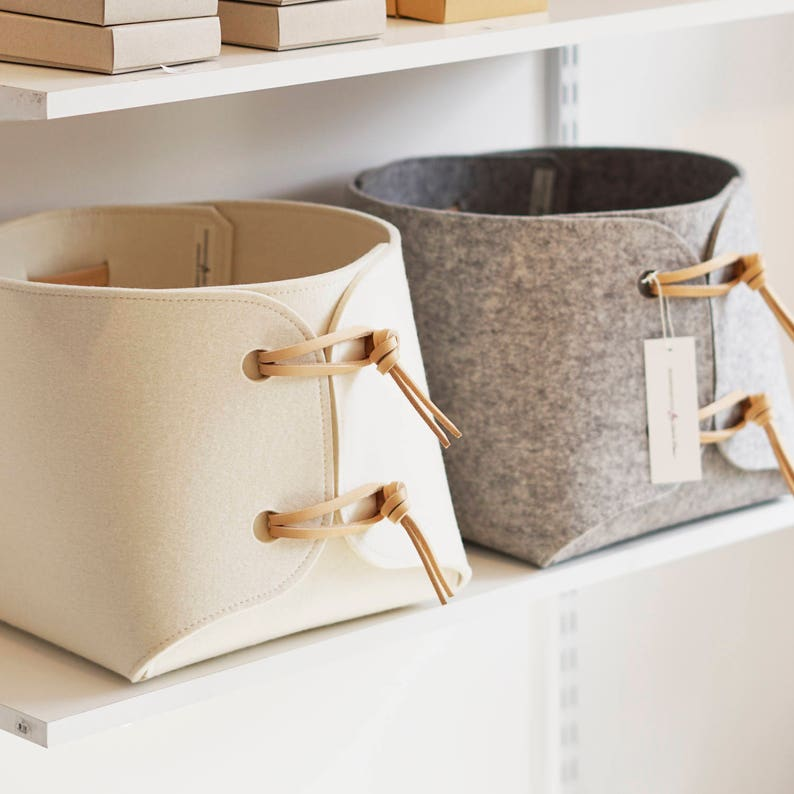 Large toy bin with leather straps  storage basket  soft felt Wool White