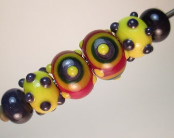 AFRICAN VASES Handmade Lampwork Beads by Patti Cahill, 3 Matched Pairs: Bullseyes, Polk-dot Minnies, Plains