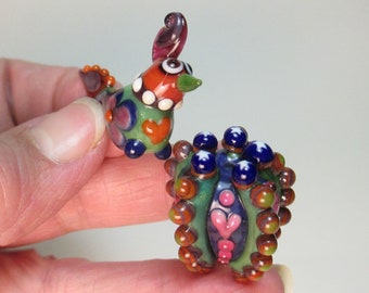 PAISLEY-WINGED FOLK Art Chick and coordinating Barrel Cactus Handmade Lampwork Beads by Patti Cahill (2 beads total)