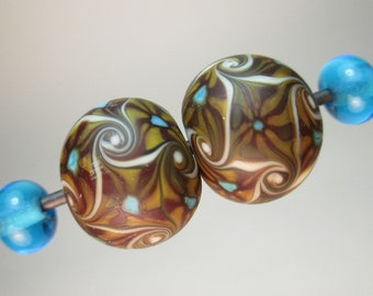 MATCHED PAIRS OF Handmade Lampwork Beads by Patti Cahill, Dancing Millifiore Focals + Aqua Plains (4 beads total)