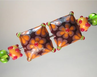 MATCHED PAIRS: FLOWERED Pillows + Coordinating Polka-dot Minnies and Lime Plains Handmade Lampwork Beads by Patti Cahill (6 beads total)