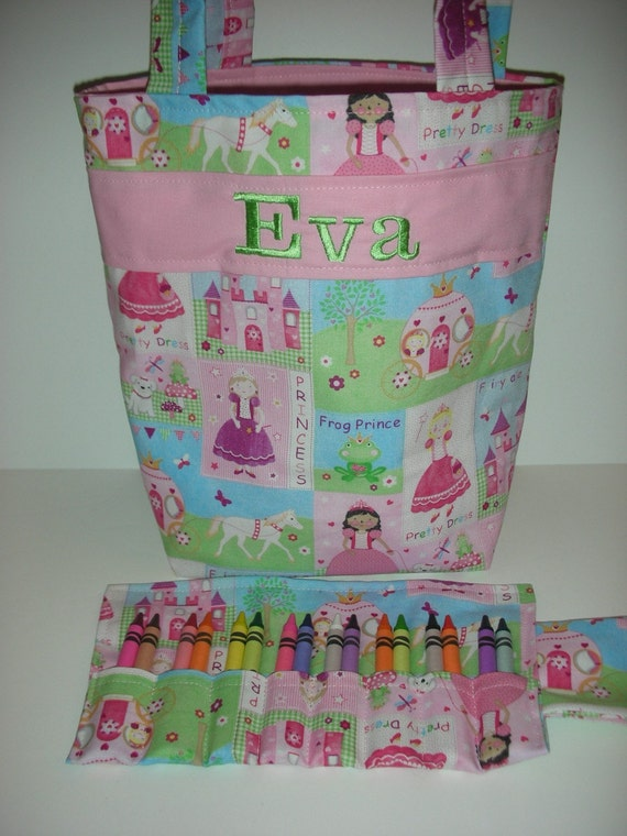 Bride Flower Girl Gift Wedding Day Personalized  Kids Tote Crayon Roll  Design Your Own 100s Fabric Choices Turquoise Pink Embroidered