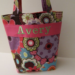 Personalized Kids Tote with Crayon Roll Personalized Kids Tote Bag 100s Fabric Choices Quiet Tote Design Your Own Flower Girl Gift