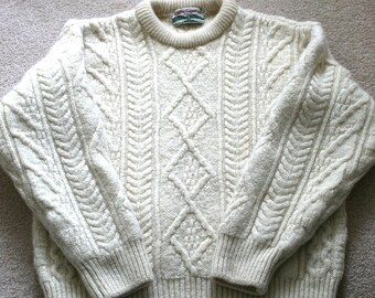 90s Cream Cable Knit Fishermans Wool Sweater - Celtic Country Brand 3eb2f8ff5