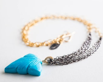 Aubrey Carved Turquoise Multi-strand Necklace, Oxidized Silver, Gold, Blue, Leaf