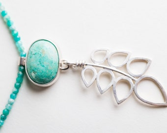 Penstemon Turqoise and Feather Pendant on Amazonite Strand Necklace, Handmade in Silver