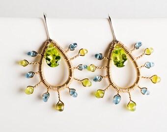 Dania Starburst Drop Earrings w/ Peridot, London Blue Topaz, Vesuvianite, Green, Olive, Blue