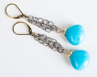 Calista Tibetan Turquoise Long Dangle in Gold-filled and Oxidized Silver Chain, Bright Blue
