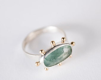 Hand Fabricated Bright Green Silver /& Gold Hailey Chrysoprase Ring w Gold Granule Halo