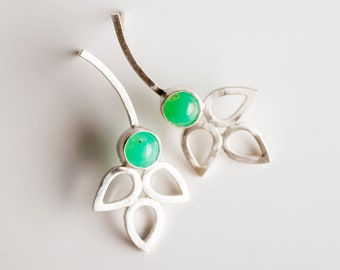 Periwinkle Stud Earrings w/ Chrysoprase & Silver Petal Cluster, Floral, Botanical, Green, Grass