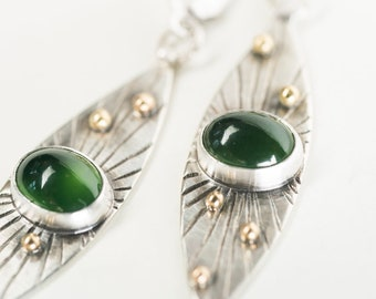 Seville Serpentine Marquise Earrings in Silver & 18k Gold, Radiating Lines, Granule, Hand stamped, Evergreen