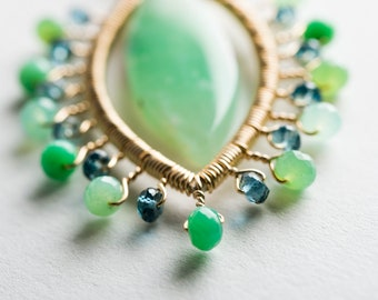 Ariel Marquise Starburst Necklace w/ Chrysoprase, London Blue Topaz in Silver & Gold, Intricate, Large, Green, Blue