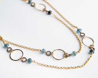 Giselle Two-toned Long Chain Necklace in Moss Aquamarine