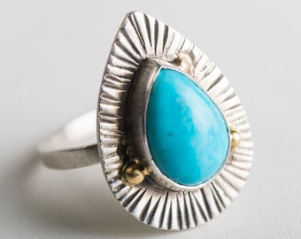 Valencia Turquoise Teardrop Ring in Silver & 18k Gold, Blue, Radiating Lines, Granule, Hand stamped, Landscape Collection