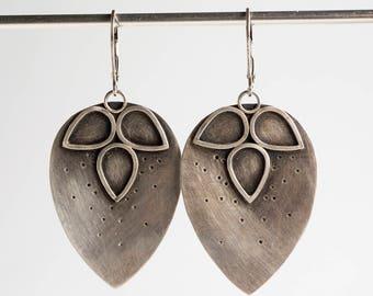 Holly Petal Dangle Earrings in Oxidized Silver, Textured, Teardrop