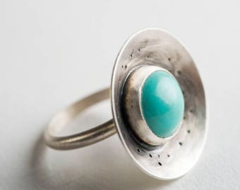 Rinna Turquoise Vessel Ring, Oxidized Silver, Tibetan Turquoise, Robin's egg Blue