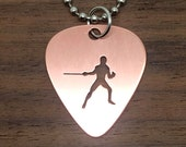 Fencing Pendant Necklace or Keychain Cut Guitar Pick, Copper or Brass, Choose Chain or Key Ring