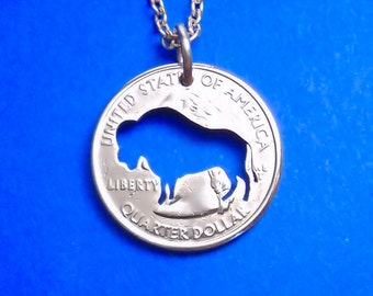 Bison Necklace, Keyring, Bison Pendant, Buffalo Necklace, Spirit Animal, Bison Keychain, Key Chain, Buffalo Jewelry, Your Choice, Cut Coin