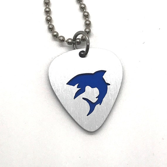 Beach Guitar Pick Necklace Pendant Pet Card Keychain